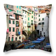 Riomaggiore's Harbor Throw Pillow