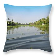 Ripples On The Water Of The Saltwater Lagoon In Alleppey In Kerala In India Throw Pillow