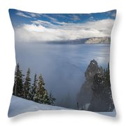 Rising Mists From Crater Lake Panorama Throw Pillow