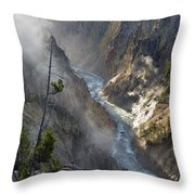 Rising Mists From Grand Canyon Of The Yellowstone Throw Pillow