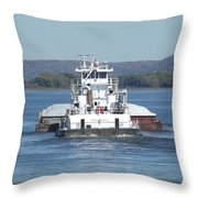 River Barge II Throw Pillow