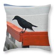 River Crow Throw Pillow