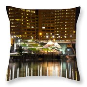 River Front At Night Throw Pillow
