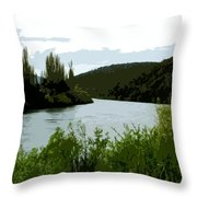 River Landscape Scene Throw Pillow