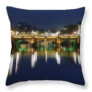 River Liffey At Night, Oconnell Street Throw Pillow