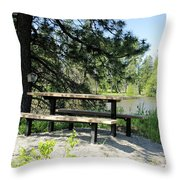 River Rest Stop Throw Pillow