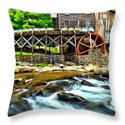 River Rock And A Grist Mill Throw Pillow