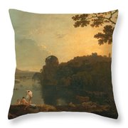 River Scene- Bathers And Cattle Throw Pillow