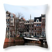 River Scenes From Amsterdam Throw Pillow