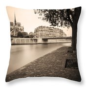 River Seine And Cathedral Notre Dame Throw Pillow
