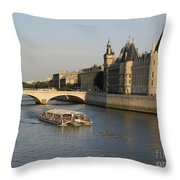River Seine And Conciergerie. Paris Throw Pillow