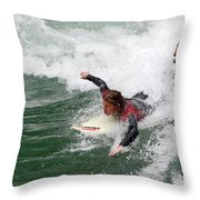 River Surfing Throw Pillow
