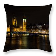 River Thames And Westminster Night View Throw Pillow