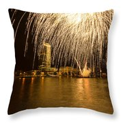 River Thames Fireworks Throw Pillow
