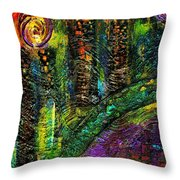 River Walking Downtown Throw Pillow