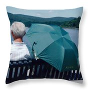 Riverfront Green Throw Pillow