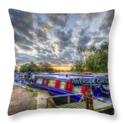 Riverside Cafe Throw Pillow
