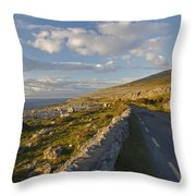 Road Along The Burren Coastline Region Throw Pillow