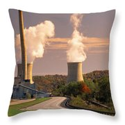 Road And Nuclear Plant.  Kentucky Throw Pillow