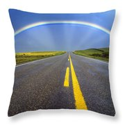 Road And Rainbow Throw Pillow