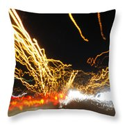 Road Cars And Street Lights Throw Pillow