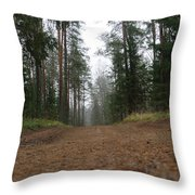 Road In A Pine Grove Throw Pillow