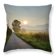 Road In Sunrise Throw Pillow
