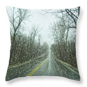 Road In The Snow Throw Pillow