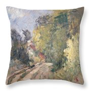 Road Turning Under Trees Throw Pillow