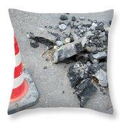 Roadworks - Asphalt And Pylon Throw Pillow