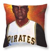 Roberto Clemente Throw Pillow by Steve Benton