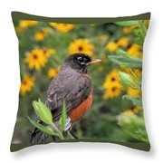 Robin Among Flowers Throw Pillow