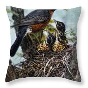 Robin And Babies In Nest Throw Pillow