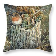 Robin Christmas Card Throw Pillow