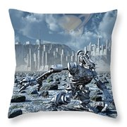 Robots Gathering Rich Mineral Deposits Throw Pillow