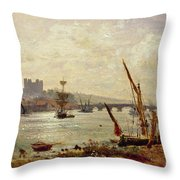 Rochester Cathedral And Castle Throw Pillow