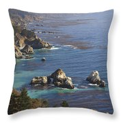 Rock Formations Along The Coast Big Sur Throw Pillow