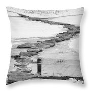 Rock Lake Crossing In Black And White  Throw Pillow