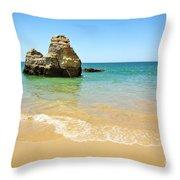 Rock On Beach Throw Pillow by Carlos Caetano