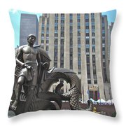 Rockefeller Poseidon Throw Pillow