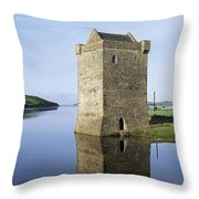 Rockfleet Castle On Clew Bay, County Throw Pillow