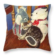 Rocking With Friends - Kitten And Stuffed Animals Painting Throw Pillow