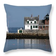 Rockland Breakwater Lighthouse Throw Pillow