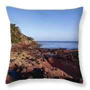 Rockpools In Volcanic Rock Formations Throw Pillow