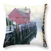 Rockport Harbor And Cages Throw Pillow