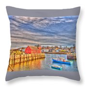 Rockport Water Color - Greeting Card Throw Pillow