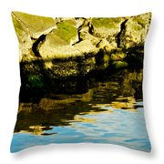 Rocks And Reflections On Ocean Throw Pillow
