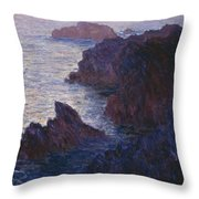 Rocks At Bell Ile Port Domois Throw Pillow