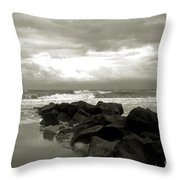 Rocks At Folly Beach Sc Throw Pillow