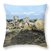 Rocks At Low Tide Iles Chausey Throw Pillow